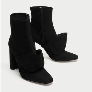 Ruffled high heel ankle boot